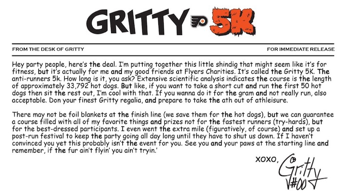 Flyers Announce Official Gritty 5K