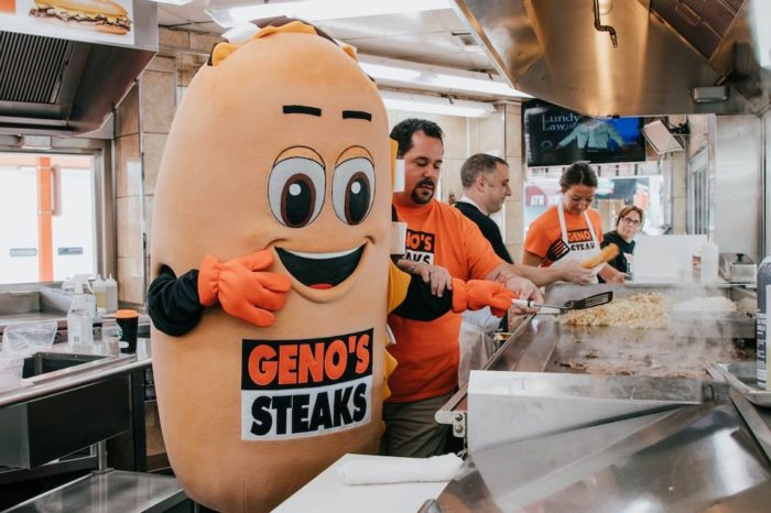 whizzy cheesesteak mascot geno's steaks