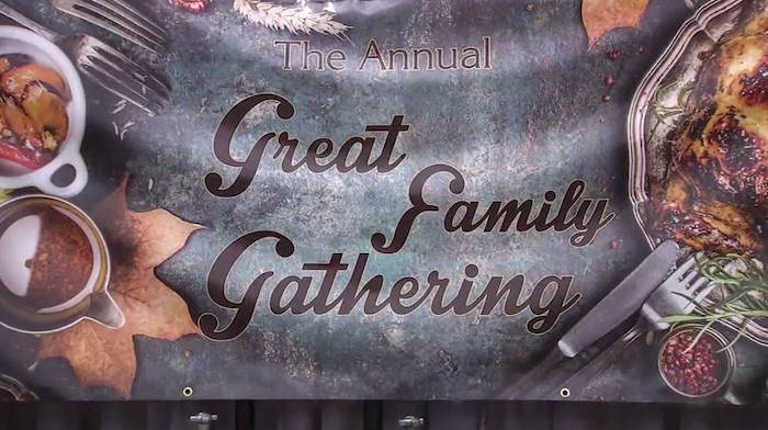 great family gathering homeless thanksgiving meal