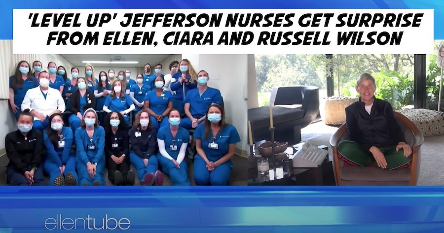 'Level Up' Jefferson Nurses Get Surprise From Ellen, Ciara and Russell Wilson