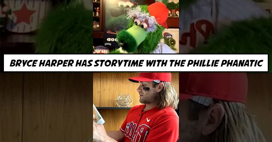 Bryce Harper Has Storytime With the Phillie Phanatic