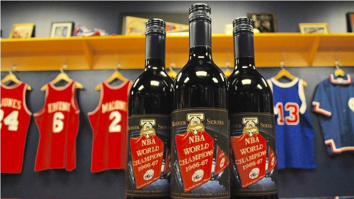 All Time 76ers Wine Bottle Team