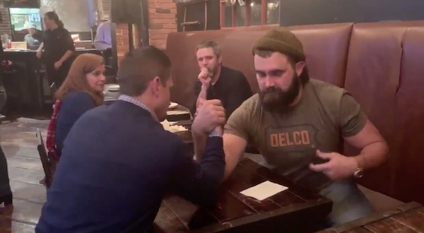 Jason Kelce Challenges Man to Arm Wrestle at Delco Bar