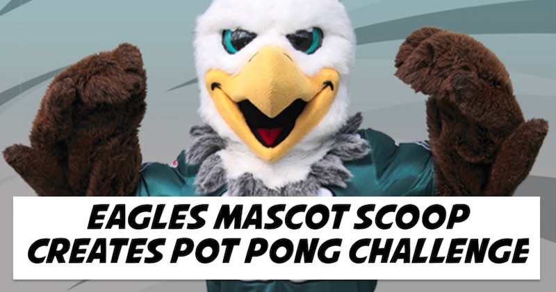Eagles Mascot Scoop Creates Pot Pong Challenge